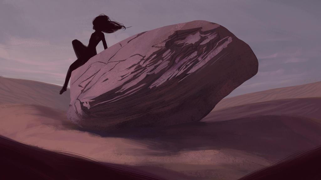 Desert rock sketch by Raedrob