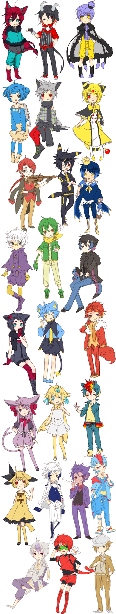 pokemon gijinka chibis by Sir-Cupid