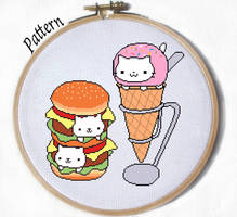 Nyan burger and Nyan Cream Cat Crossstitch pattern by JuliefooDesigns