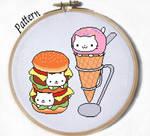 Nyan burger and Nyan Cream Cat Crossstitch pattern