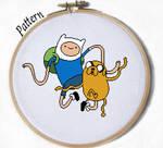 Finn and Jake Dancing cross stitch pattern