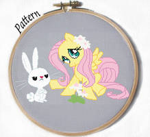 Fluttershy and Angel cross stitch pattern