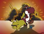 Pikachu y Yoshi al limite
