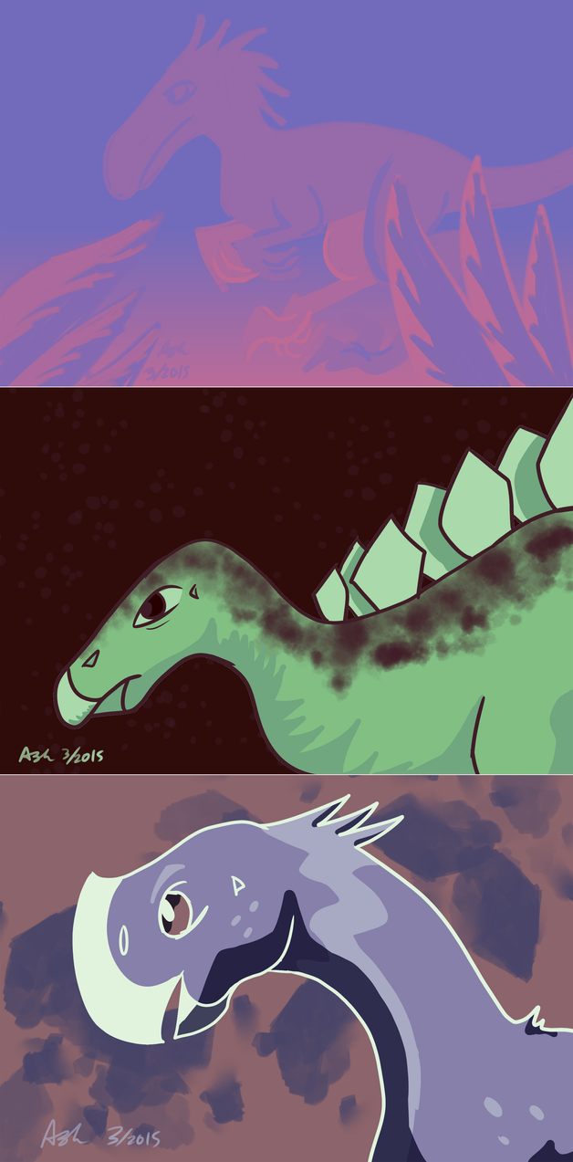 Hey look there's more dinosaurs by RedVioletPanda