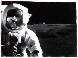Gouache Grayscale Astronaut