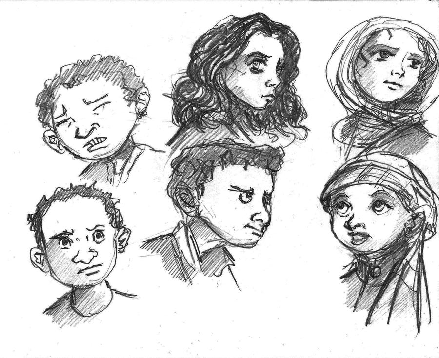 sketches of arab kids by thelivingshadow