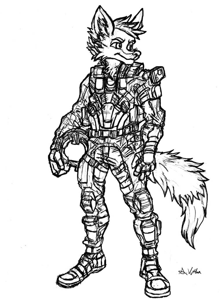 Inktober 2017 day 11 fighter pilot fox by thelivingshadow