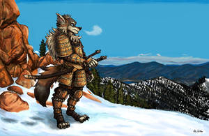 Tython the Wolf Samurai - Commission by TheLivingShadow
