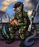 Soldier Reading a Book - Commission