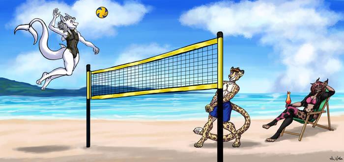 Ash vs Kiyn (Beach Volleyball Game) - Commission