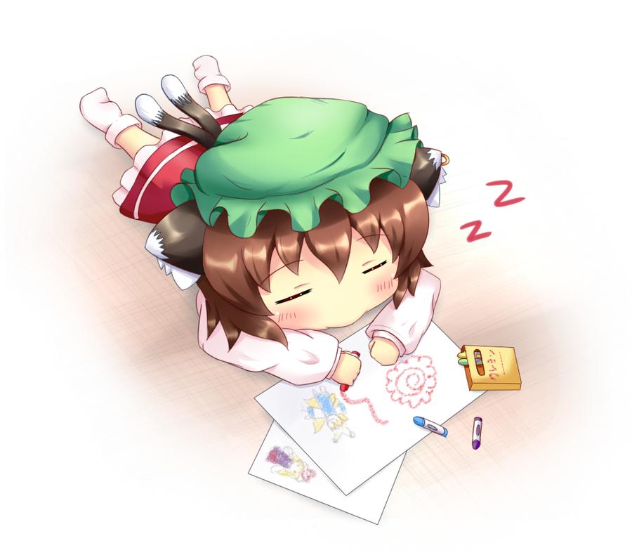 Touhou Chibi - Chen sleeping by KANE-NEKO