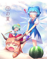 Touhou - Cirno and Suika splitting by KANE-NEKO
