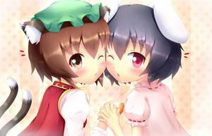 Touhou - Chen and Tewi by KANE-NEKO