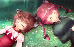 Touhou - Chen and Kaenbyou Rin sleeping by KANE-NEKO
