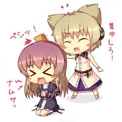 Touhou - Chibi Hijiri vs Miko by KANE-NEKO