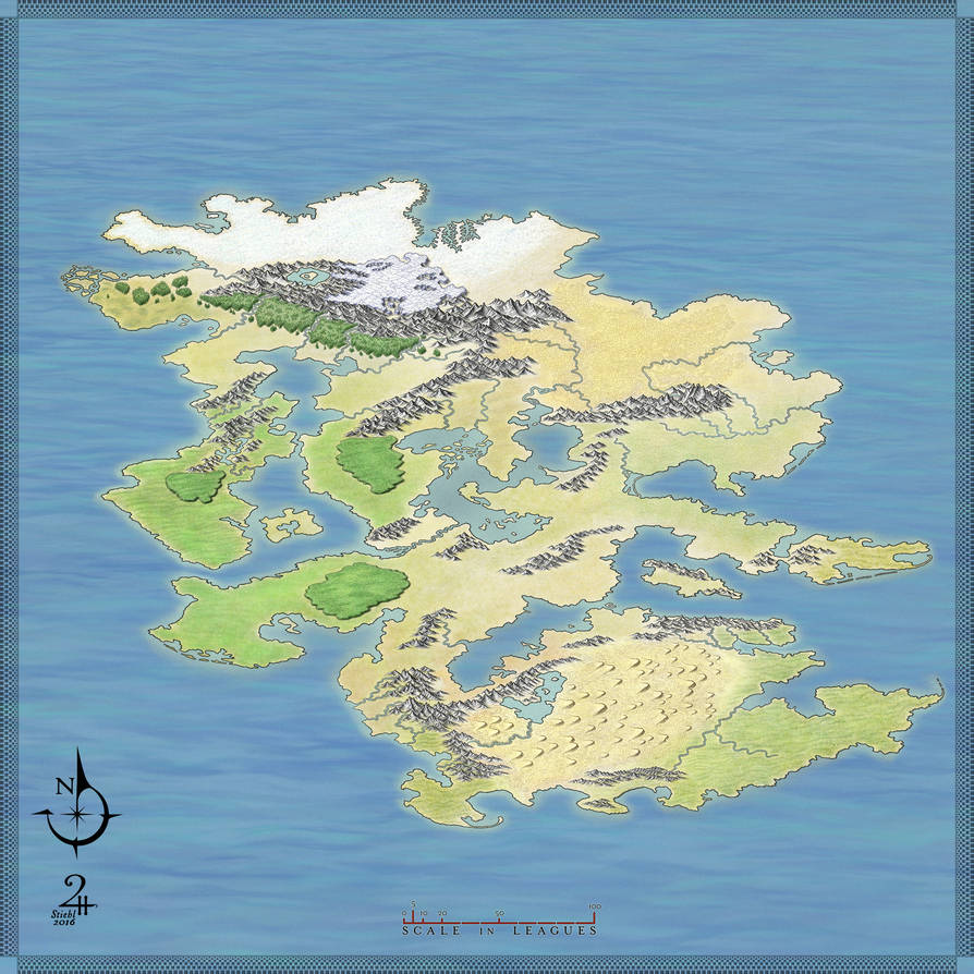 Unlabeled Fantasy Map, No Icons by XianPryde
