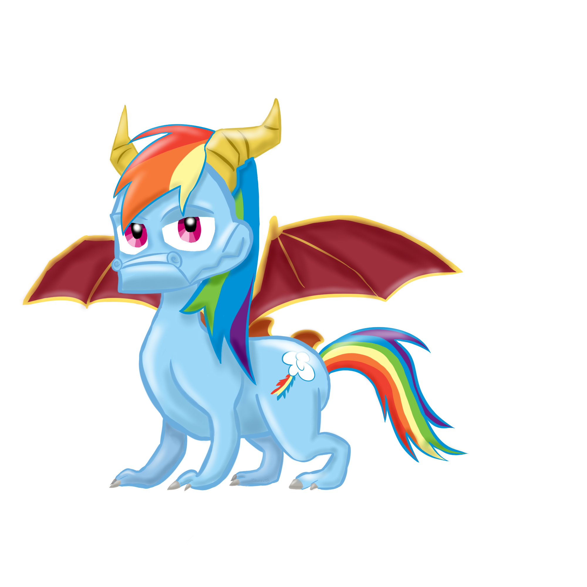 SpyDash (Rainbow Dash/Spyro hybrid) by Zhooves