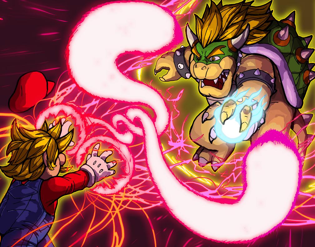 Mario vs Bowser Super Saiyan Battle by OutlawTornDOA
