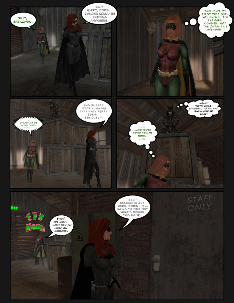 Batwoman and Robin: Cat Toys pg.1 by EthereaS