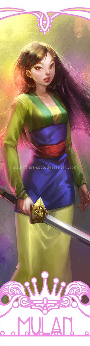 Disney Princesses Bookmarks: Mulan by hart-coco