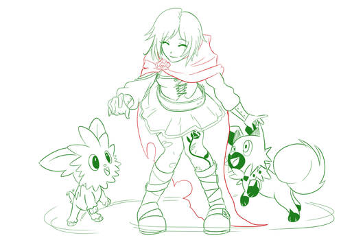 2 Ruby Rose playing with a lillipup and Rockruff by mattwilson83