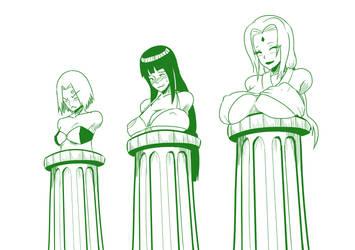 2 Sakura hinata Tsunade as human busts by mattwilson83