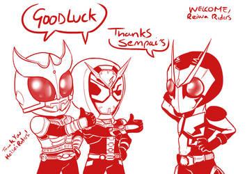 1 Kamen Riders wishing luck by mattwilson83