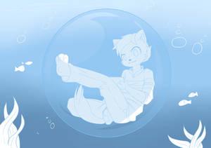 6 OC fursona - relaxing in a bubble