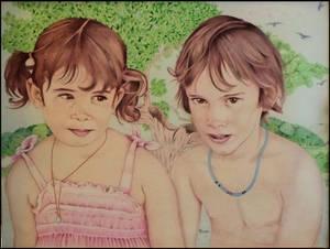 Ballpoint pen art, double portrait