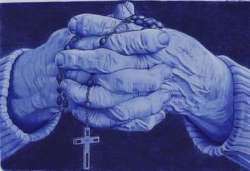 Prayer hands, Ballpointpen Drawing