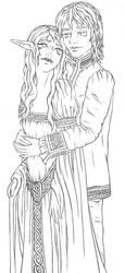 Luthien and Beren line-art by HypnoticRose