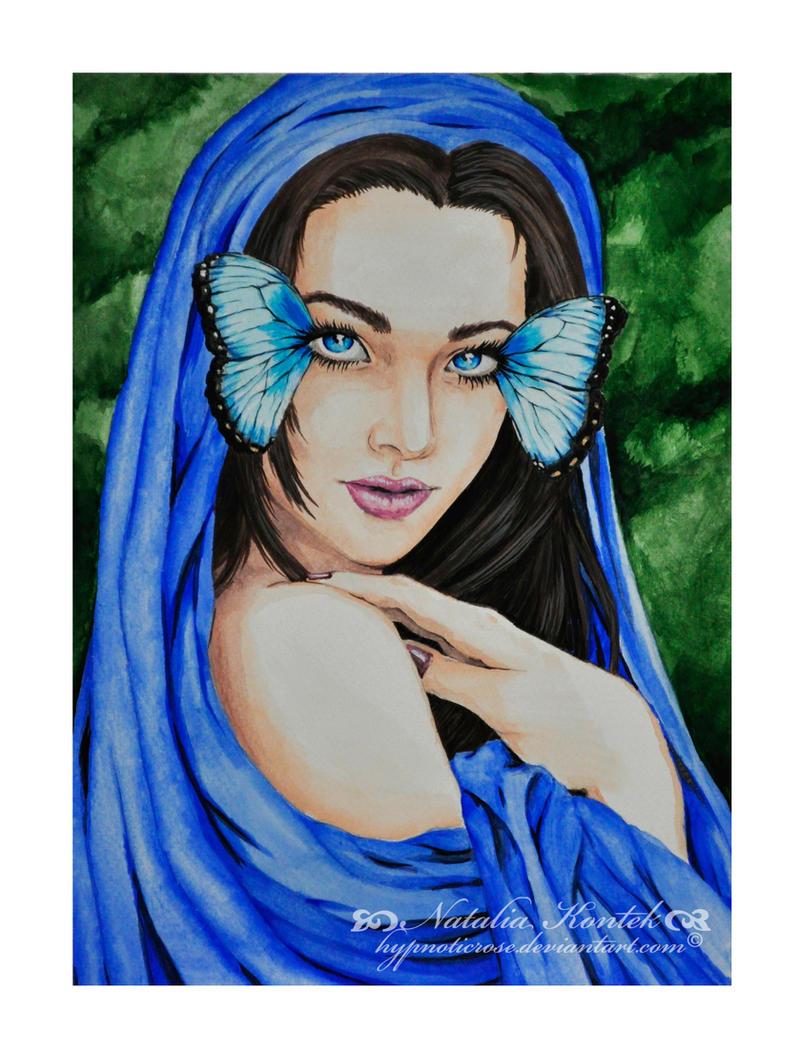 Blue Morpho Lady by HypnoticRose