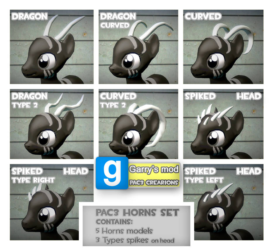 PAC3 | MLP| Horns and spikes set by ElectedPony on DeviantArt