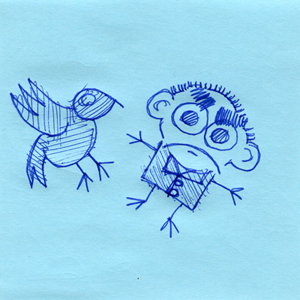 Postit note, Seth and bird