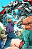 Buster Witwicky vs Skyfire by REX-203