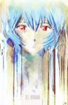 Rei Ayanami Mixed Media Digital Illustration