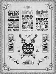 Legend of Zelda Hylian Shield Letterpress Poster by studiomuku