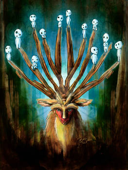 Mononoke Deer God Shishigami Tradigital Painting