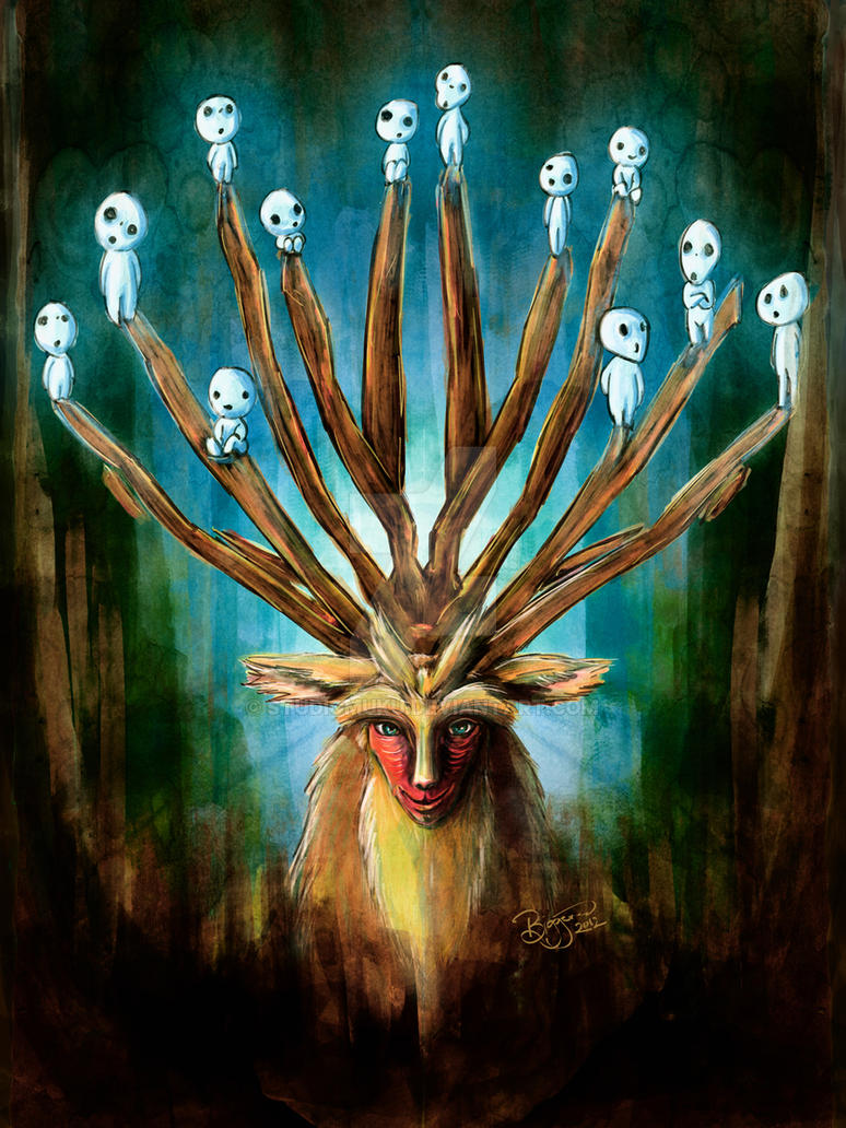 Mononoke Deer God Shishigami Tradigital Painting by studiomuku