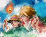 Howl and Sophie from Howl's Moving Castle Painting