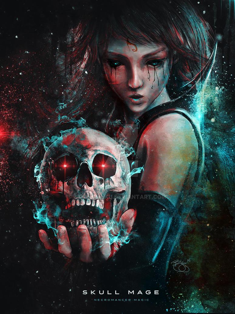 Skull Mage Original Character Concept by studiomuku