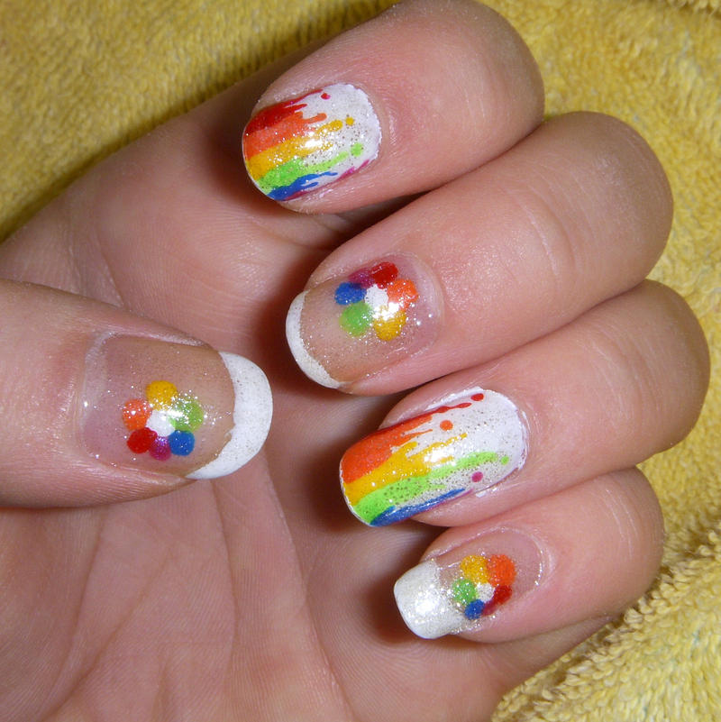 Colourful drips nail art by quixii on deviantart colourful drips nail art by quixii prinsesfo Choice Image