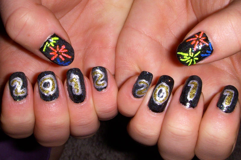 Happy New Year Nail Art By Quixii On Deviantart