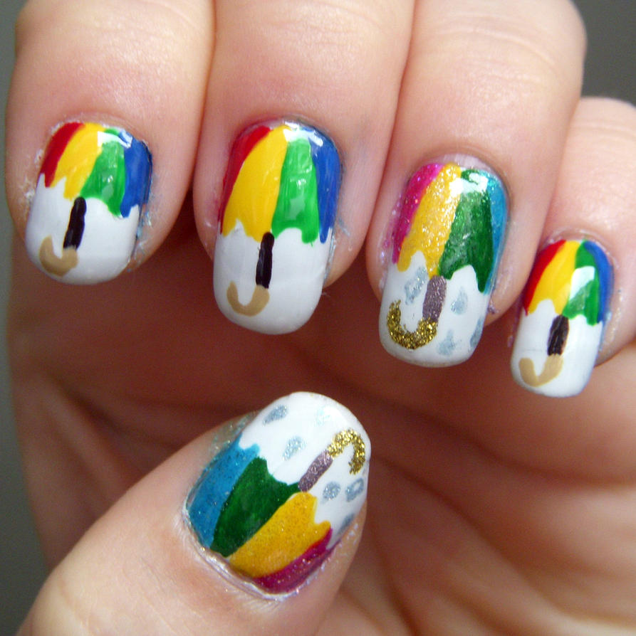 Let It Rain Nail Art by quixii on DeviantArt