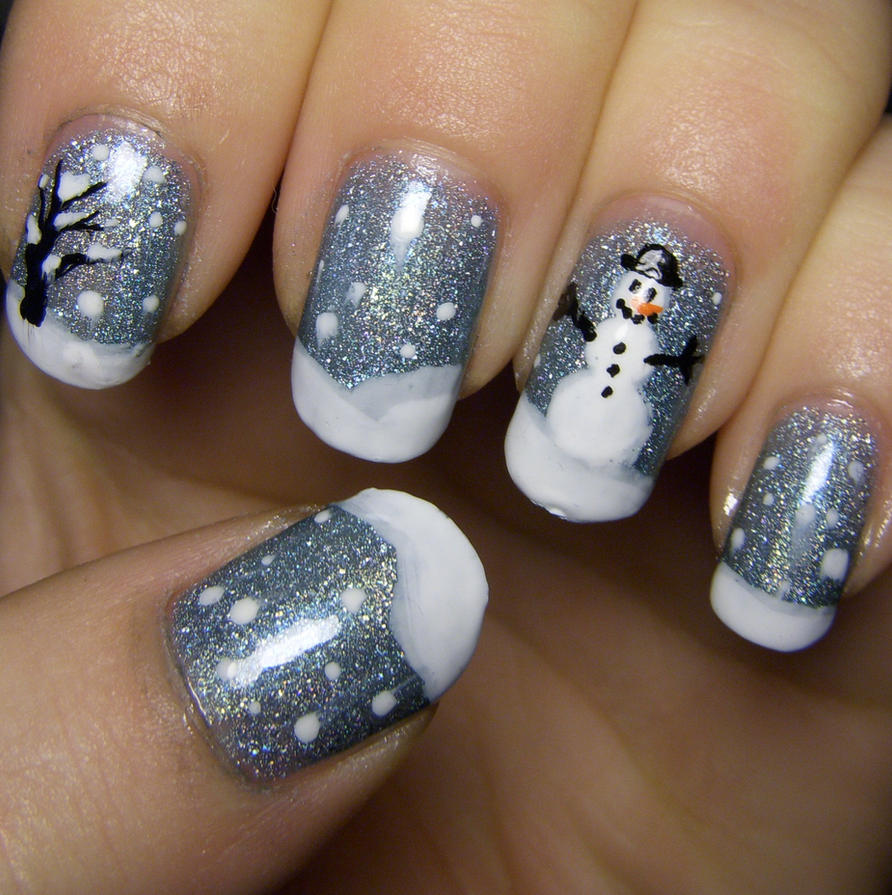 winter wonderland nail art by quixii on deviantart. Black Bedroom Furniture Sets. Home Design Ideas