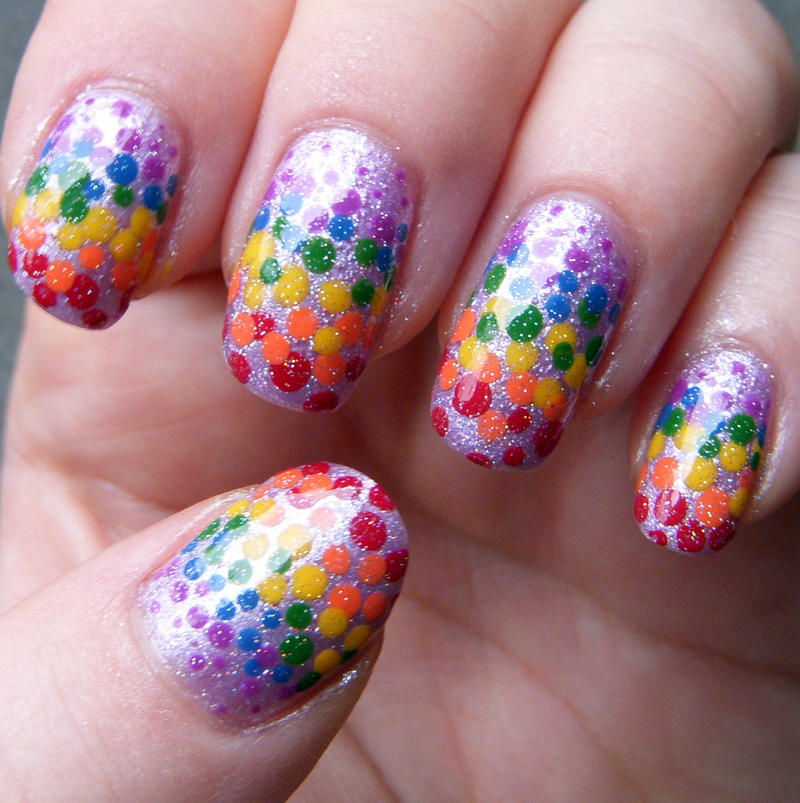Rainbow Dotticure Nail Art by quixii