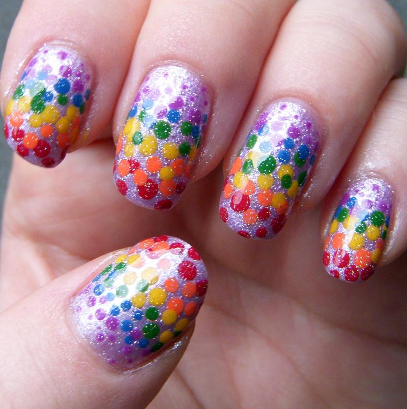 Rainbow Dotticure Nail Art by quixii