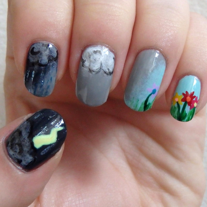 Nail Ideas For April: April Showers Bring May Flowers Nail Art By Quixii On
