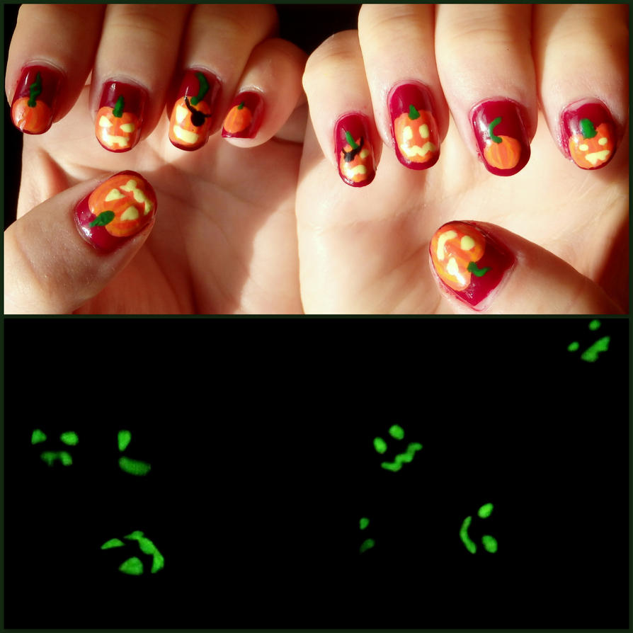 Pumpkin Jack\'o\'Lantern Nail Art by quixii on DeviantArt