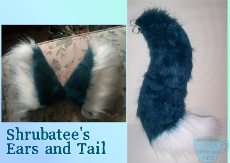 Shrubatee's ears and tail by caffeinatedcrafts